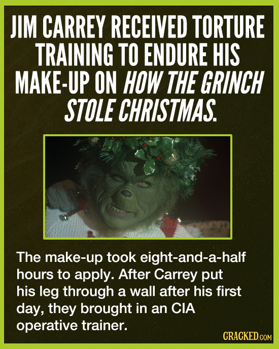 JIM CARREY RECEIVED TORTURE TRAINING TO ENDURE HIS MAKE-UP ON HOW THE GRINCH STOLE CHRISTMAS. The make-up took eight-and-a-half hours to apply. After