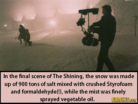 In the final scene of The Shining, the snow was made up of 900 tons of salt mixed with crushed Styrofoam and formaldehyde(!), while the mist was finel