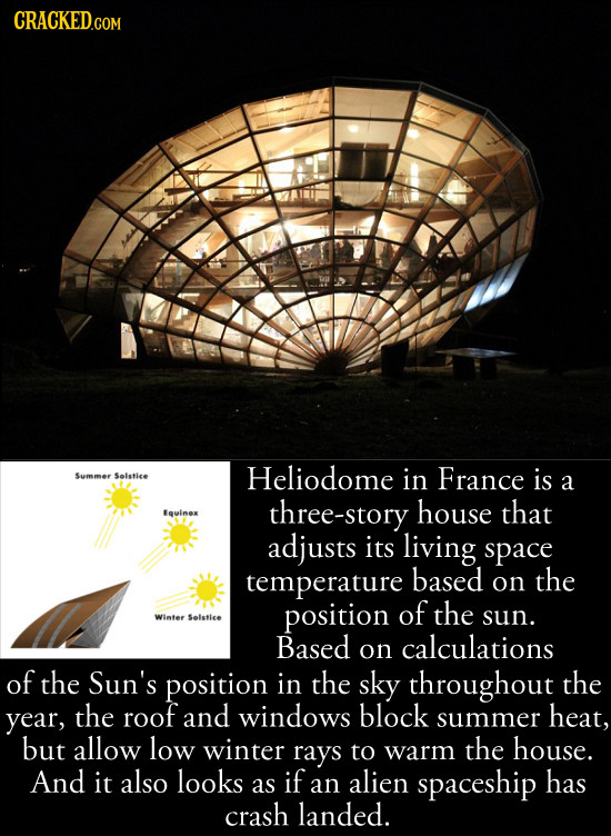 CRACKED.COM Heliodome France Summer Solstice in is a three-story house that Equlnox adjusts its living space temperature based on the position of the