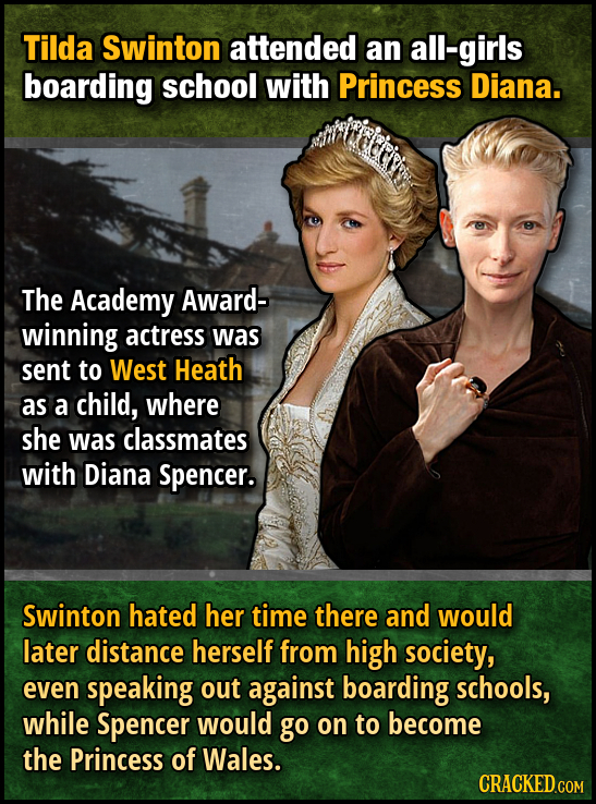 Tilda Swinton attended an all-girls boarding school with Princess Diana. The Academy Award- winning actress was sent to West Heath as a child, where s