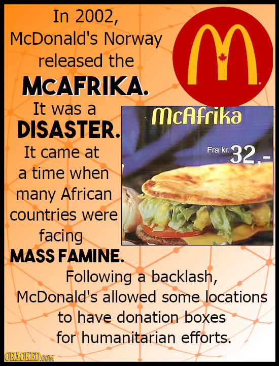 In 2002, McDonald's Norway M released the MCAFRIKA. It was a McAfrika DISASTER. It came at Fra kr. 32- a time when many African countries were facing