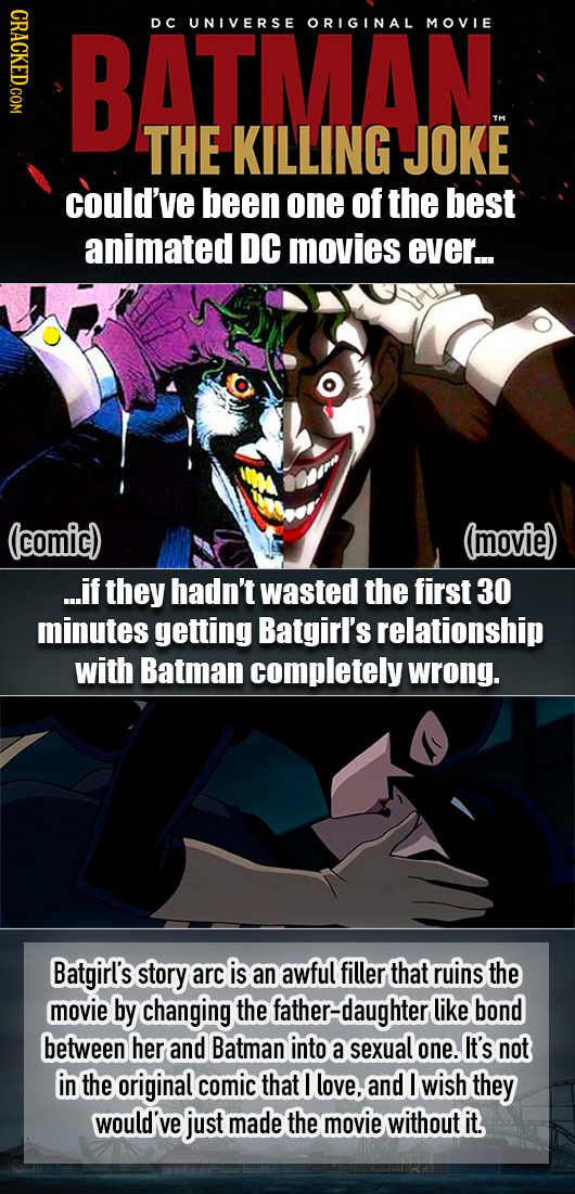 CRAO BATMAN DC UNIVERSE ORIGINAL MOVIE THE KILLING JOKE could've been one of the best animated DC movies ever... (comic) (movie) ...if they hadn't was