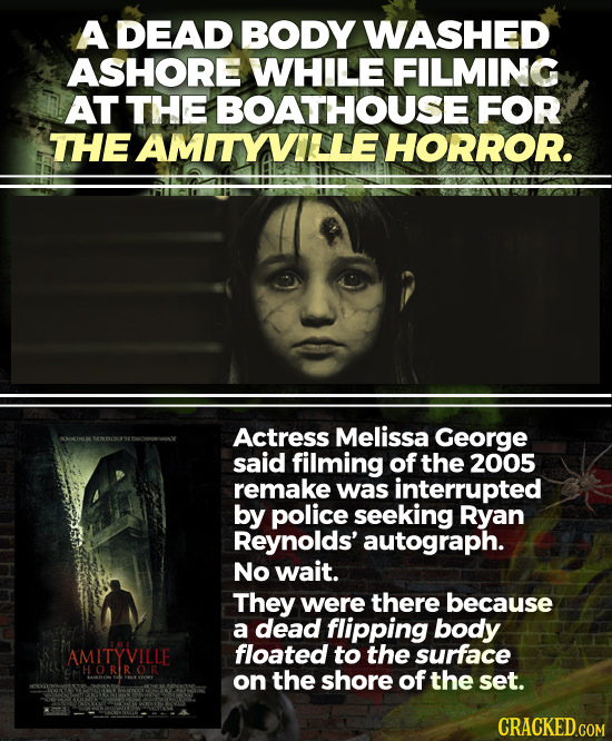 A DEAD BODY WASHED ASHORE WHILE FILMING AT THE BOATHOUSE FOR THE AMITYVILLEHORROR. Actress Melissa George said filming of the 2005 remake was interrup