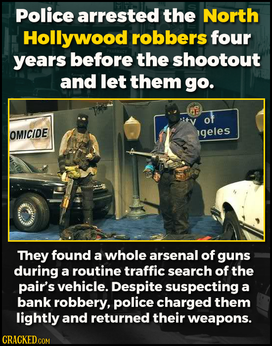 Police arrested the North Hollywood robbers four years before the shootout and let them go. of OMICIDE igeles They found a whole arsenal of guns durin