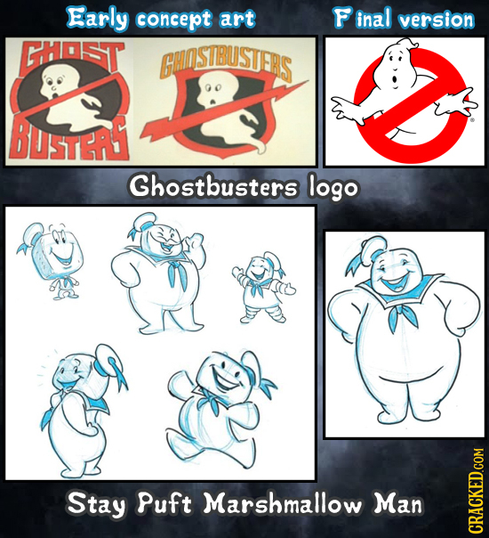 Early concept art inal version GHAST GHASTBUSTERS BUSTERST Ghostbusters logo Stay Puft Marshmallow Man CRACKED.COM