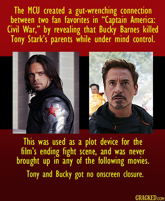 The MCU created a gut-wrenching connection between two fan favorites in Captain America: Civil War, by revealing that Bucky Barnes killed Tony Stark