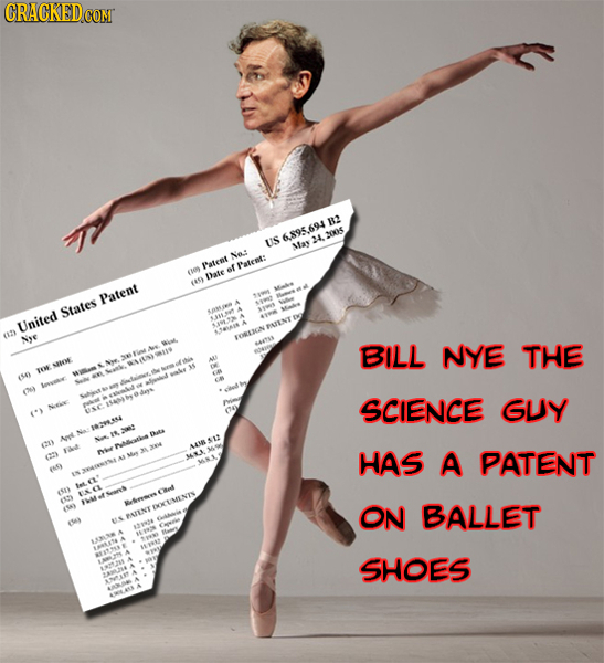 CRACKEDO B2 6.895.694 20x5 US 4 May No.: Patent Patent: (109 of lhate 9 Patent States United 2y Nye TORLICN BILL NYE THE TH SOOE S4 0) SCIENCE GUY 182