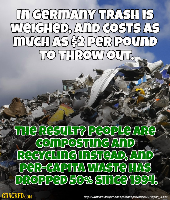 In GeRmAny TRASH IS WEIGHEDo AND COSTS AS MUcH AS $2 per pound TO THROW OUT. THE RESULT? PEOPLE ARE COMPOStinG AND REGYCLING INSTEAD AND peR CAPITA WA