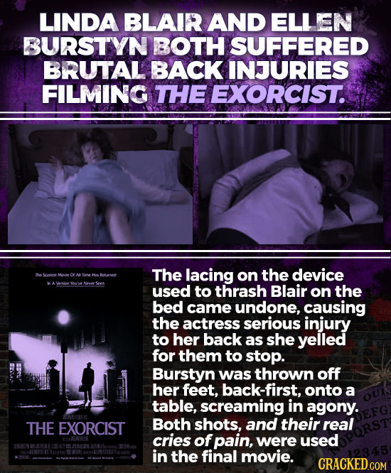 LINDA BLAIR AND ELLEN BURSTYN BOTH SUFFERED BRUTAL BACK INJURIES FILMING THE EXORCIST. The lacing the device Grin Mwie OY AL fee HA Tetut on WA 6 Nloe