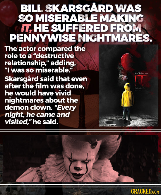 BILL SKARSGARD WAS SO MISERABLE MAKING I, HE SUFFERED FROM PENNYWISEI NIGHTMARES. The actor compared the role to a destructive relationship, adding,