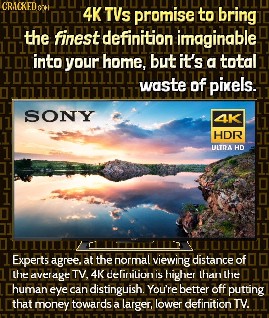 101010111 4K TVs promise to bring 10 the finest definition imaginable 101 into home, but it's a total 101010101waste of pixels. SONY 4K HDR ULTRA HD 1