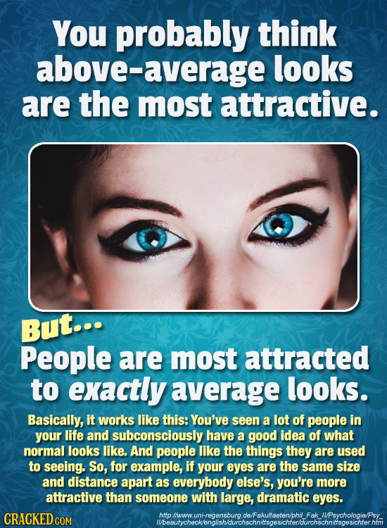 You probably think above-a average looks are the most attractive. But... People are most attracted to exactly average looks. Basically, it works like