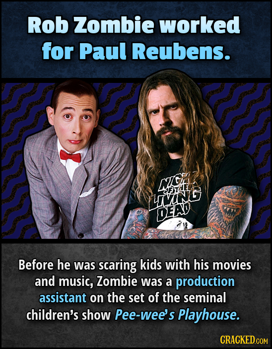 Rob Zombie worked for Paul Reubens. NH Gf OFTHE LIViNG DEAD Before he was scaring kids with his movies and music, Zombie was a production assistant on