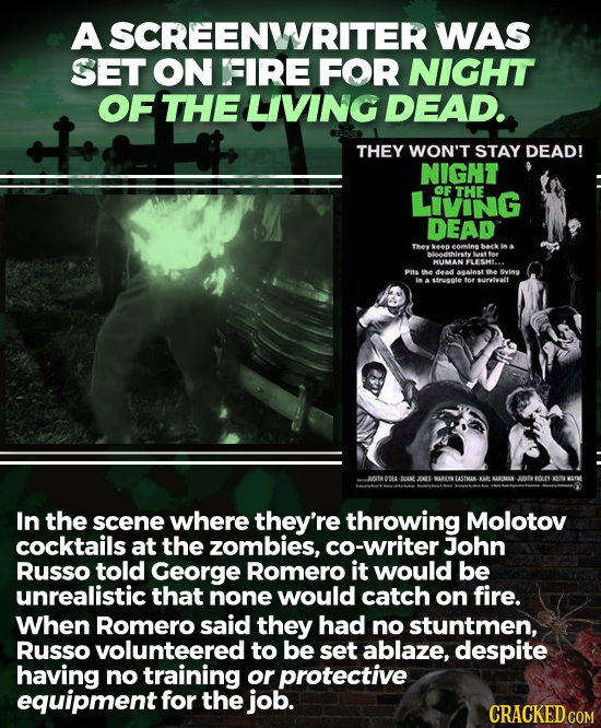 A SCREENWRITER WAS SET ON FIRE FOR NIGHT OF THE LIVING DEAD. THEY WON'T STAY DEAD! NIGNT LIVING OF THE DEAD They 10 comi baek Metthirety uot os HUIMAN