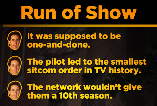 Run of Show It was supposed to be one-and-done. The pilot led to the smallest sitcom order in TV history. The network wouldn't give them a 10th season