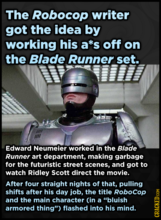 The RObocop writer got the idea by working his a*s off on the Blade Runner set. Edward Neumeier worked in the Blade Runner art department, making garb