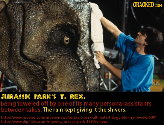 CRACKED.COM JURASSIC PARK'S T. REX, being toweled off by one of its many personalassistants between takes. The rain kept giving it the shivers. htpllw