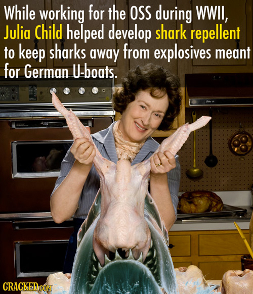 While working for the OSS during WWIl, Julia Child helped develop shark repellent to keep sharks away from explosives meant for German U-boats. CRaCKE
