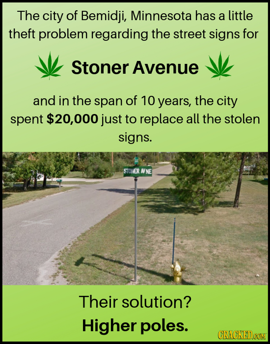 The city of Bemidji, Minnesota has a little theft problem regarding the street signs for Stoner Avenue and in the span of 10 years, the city spent $20