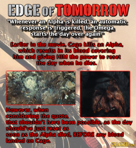 EDGE OF OMORROW Whenever an Alpha is killed, an automatic response is triggered, the Omega starts the day over again Earlier in the movie. Cage kill