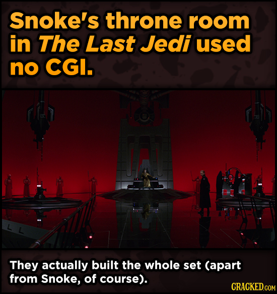 Surprising Ways Beloved Movies Accomplished Their Effects - Snoke's throne room in The Last Jedi used no CGI.