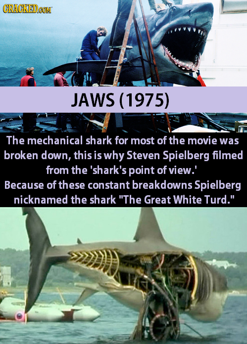 CRACKEDCON JAWS (1975) The mechanical shark for most of the movie was broken down, this is why Steven Spielberg filmed from the 'shark's point of view