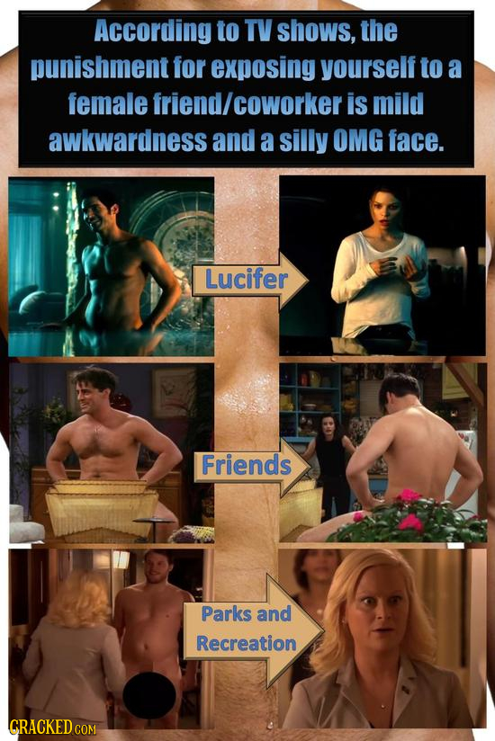 According to TV shows, the punishment for exposing yourself to a female friend/ coworker is mild awkwardness and a silly OMG face. Lucifer Friends Par