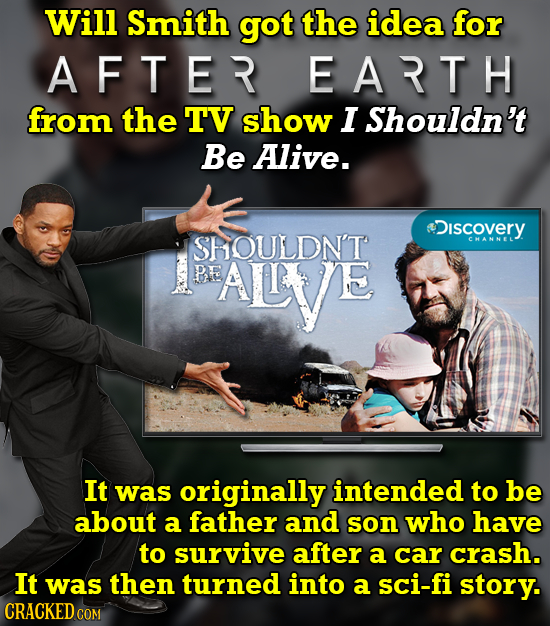 Will Smith got the idea for A FTER EARTH from the TV show I Shouldn't Be Alive. tiscOVERY SHOULDN'T CHANNEL BE AILL'Ve It was originally intended to b