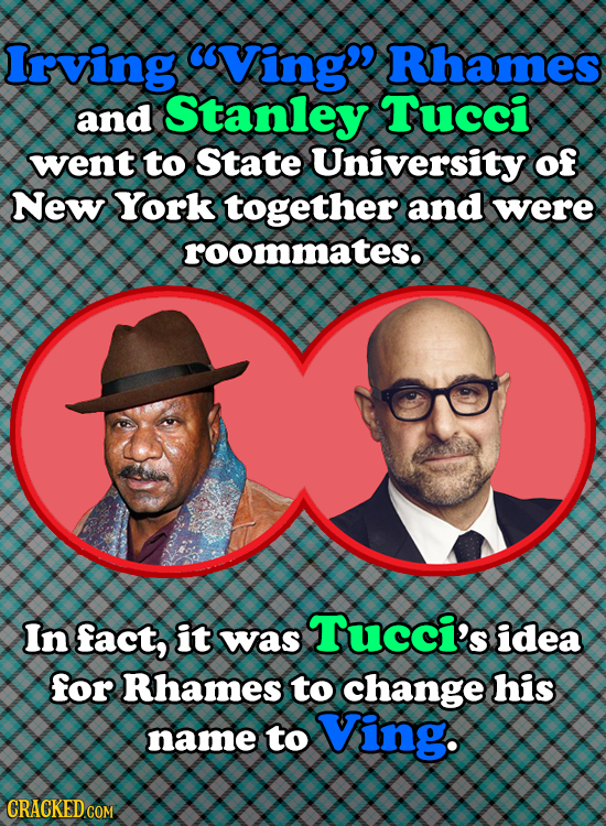 Irving Ving Rhames and Stanley Tucci went to State University of New York together and were roommates. In fact, it Tucci's was idea for Rhames to ch