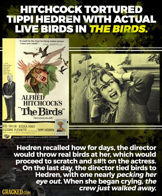 HITCHCOCKTORTURED TIPPl HEDREN WITH ACTUAL LIVE BIRDS IN THE BIRDS.  eel he the moat terrifyine metio pieture Mave ever madeft anfta ALFRED HITCHCOCK'