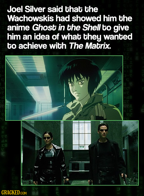 Joel Silver said tHat the Wachowskis had showed him the anime Ghost in the Shell to give him an idea of what they wanted to achieve with The Matrix. s
