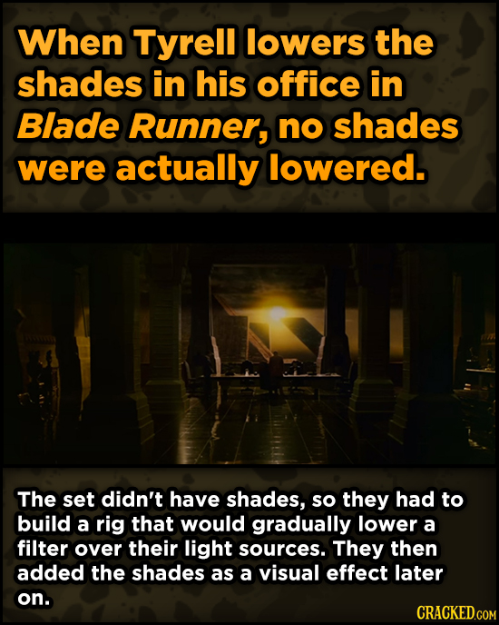 Surprising Ways Beloved Movies Accomplished Their Effects When Tyrell lowers the shades in his office in Blade Runner, no shades were actually lowered