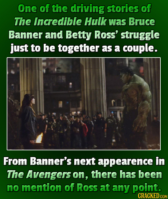 One of the driving stories of The Incredible Hulk was Bruce Banner and Betty Ross' struggle just to be together as a couple. From Banner's next appear