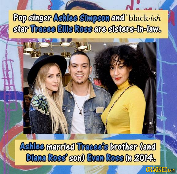 Pop singer Ashlee Simpson and black:is/ star Tracee Ellis Ross are sisters-in-law Ashlee married Tracee's brother (and Diana ROSS' sond Evan Ross in 2