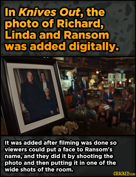Surprising Ways Beloved Movies Accomplished Their Effects - In Knives Out, the photo of Richard, Linda and Ransom was added digitally.