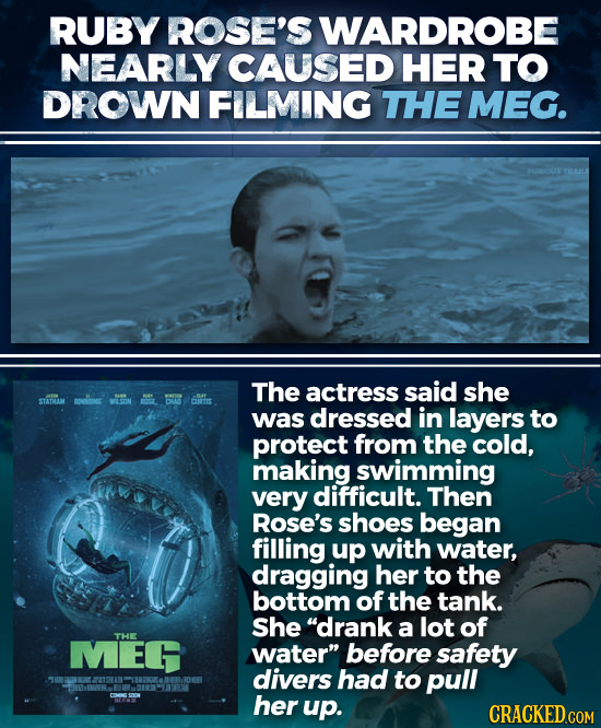 RUBY ROSE'S WARDROBE NEARLY CAUSED HER TO DROWN FILMING THE MEG. The actress said she STATHIM was dressed in layers to protect from the cold, making s