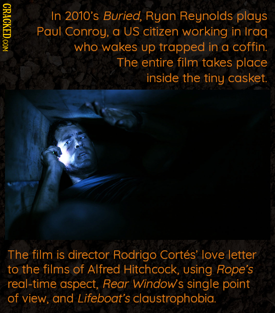 CRACKED.COM In 2010's Buried, Ryan Reynolds plays Paul Conroy, a US citizen working in Iraq who wakes up trapped in a coffin. The entire film takes pl
