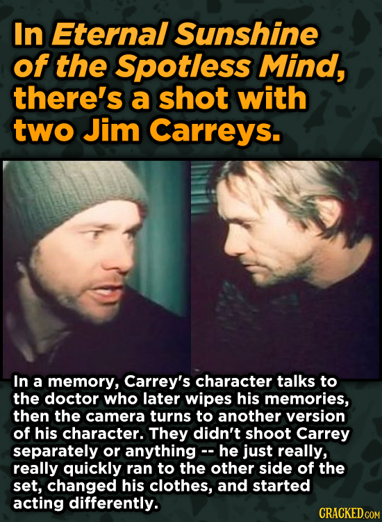 Surprising Ways Beloved Movies Accomplished Their Effects - In Eternal Sunshine of the Spotless Mind, there's a shot with two Jim Carreys.