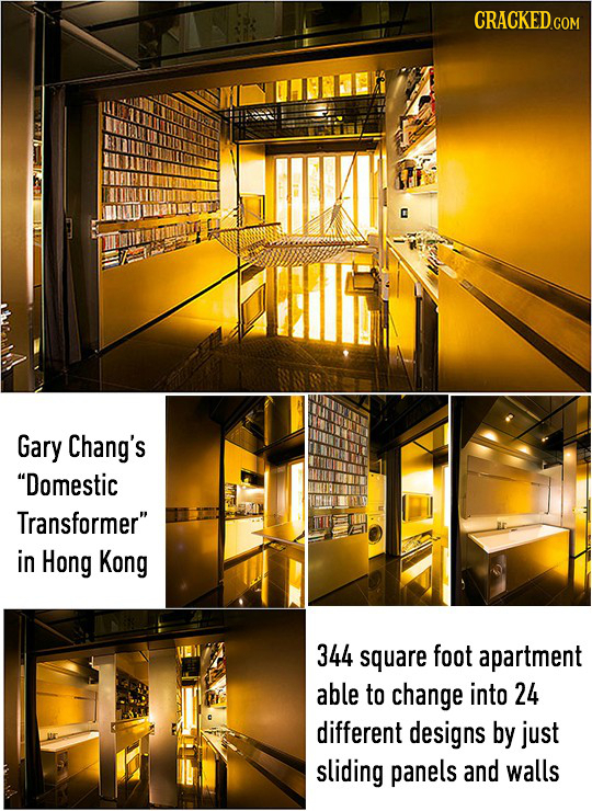 CRACKED COM Gary Chang's Domestic Transformer in Hong Kong 344 square foot apartment able to change into 24 different designs by just sliding panels
