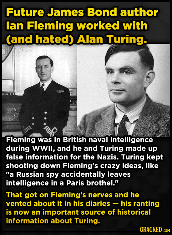 Future James Bond author lan Fleming worked with Cand hated) Alan Turing. Fleming was in British naval intelligence during WWl, and he and Turing made