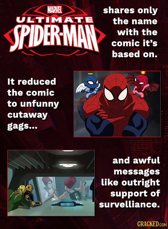 MARVEL shares only ULTIMATE SPIDERMAN the name with the comic it's based on. It reduced the comic to unfunny cutaway gags... and awful messages like o