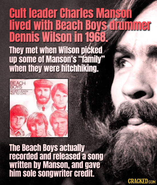Cult leader Charles Manson lived with Beach Boys drummer Dennis Wilson in 1968. They met when Wilson picked up some Of Manson's 1amily when they wer