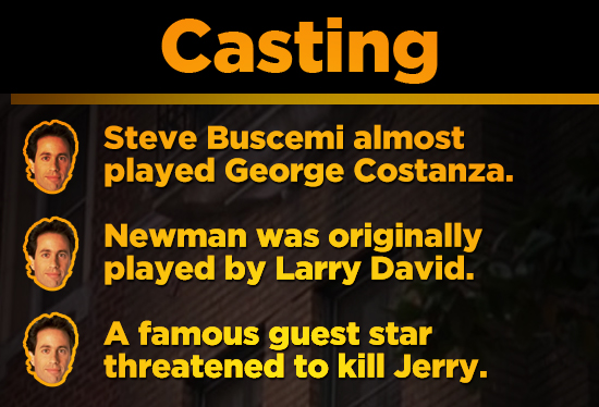 Casting Steve Buscemi almost played George Costanza. Newman was originally played by Larry David. A famous guest star threatened to kill Jerry.