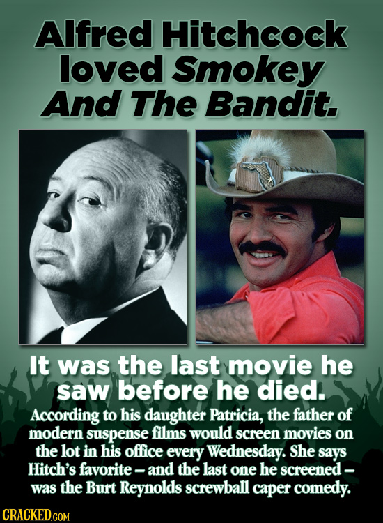 AIfred Hitchcock loved Smokey And The Bandit. It was the last movie he saw before he died. According to his daughter Patricia, the father of modern su
