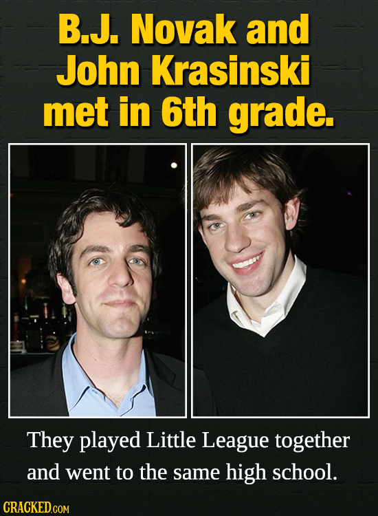 B.J. Novak and John Krasinski met in 6th grade. They played Little League together and went to the same high school.