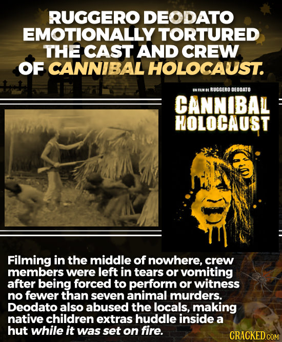 RUGGERO DEODATO EMOTIONALLY' TORTURED THE CAST AND CREW OF CANNIBAL HOLOCAUST. NFELMBL RUGGERO DEODATO CANNIBAL HOLOCAUST Filming in the middle of now