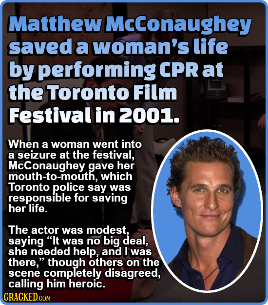 Matthew Mcconaughey saved a woman's life by performing CPR at the Toronto Film Festival in 2001. When a woman went into a seizure at the festival, McC