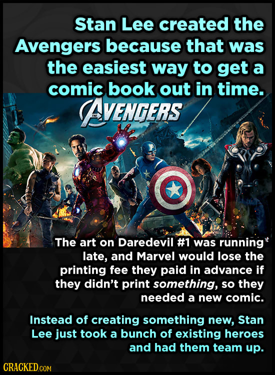 Stan Lee created the Avengers because that was the easiest way to get a comic book out in time. AVENGERS The art on Daredevil #1 was running't late, a