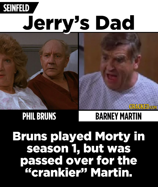 SEINFELD Jerry's Dad CRACKEDCO PHIL BRUNS BARNEY MARTIN Bruns played Morty in season 1, but was passed over for the crankier' Martin.