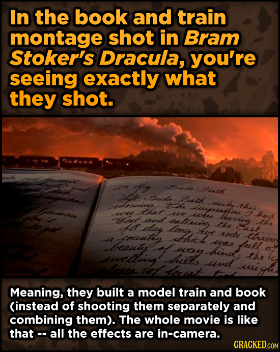 Surprising Ways Beloved Movies Accomplished Their Effects - In the book and train montage shot in Bram Stoker's Dracula,